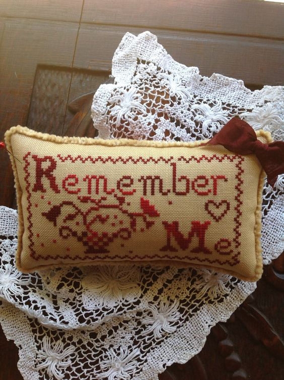 Red variegated cross stitched  Remember Me pin by TheOldNeedleShop