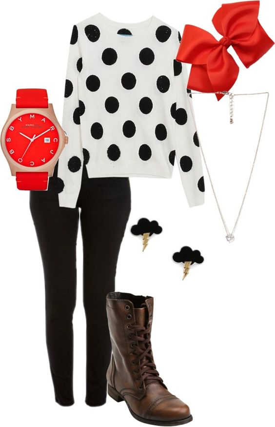 """dotty red"" by mad1hay35 on Polyvore"