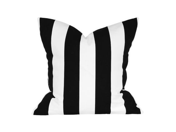 """18"""" x 18"""" Designer Pillow Cover / Decorative Throw Pillow / Accent Cushion Cover / Pillow Case (Black and White Stripes)"""