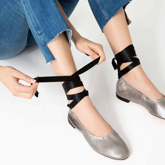 Image 5 of LACE-UP LEATHER BALLET FLATS from Zara