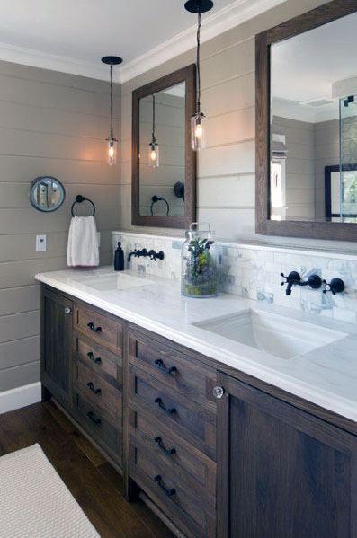 Top 70 Best Bathroom Backsplash Ideas Sink Wall Designs Bathroom Remodel Master Farmhouse Master Bathroom Farmhouse Bathroom Decor