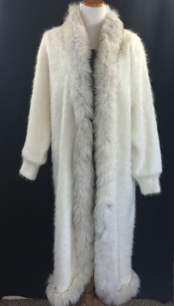 Angora White Full Length Cardigan Sweater Coat Long Maxi Duster