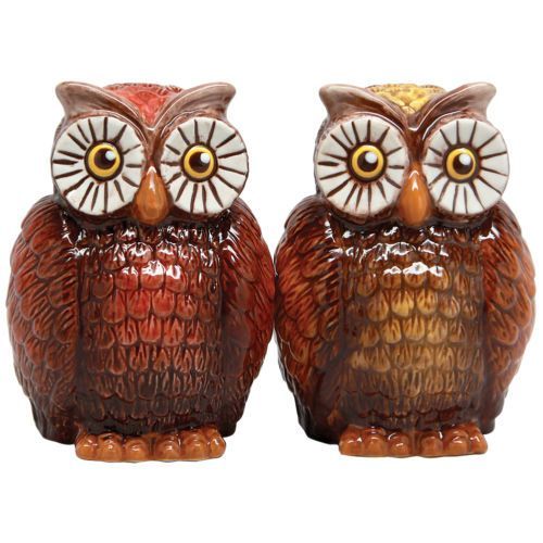 NEW Owls Shaker Set - Retro Looking Magnetized Ceramic Salt and Pepper Shakers