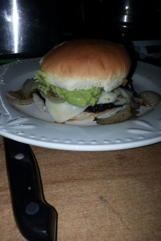 Portobello Burger With caramelized onions, avocado, and mozzarella