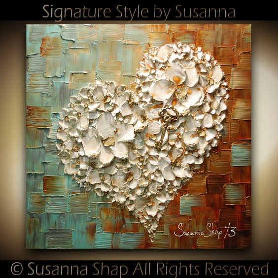 ORIGINAL Abstract Thick Texture Flowers Art White Heart and Key Painting Contemporary Gallery Fine Art by Susanna Ready to Hang Canvas 24x24. $345.00, via Etsy.