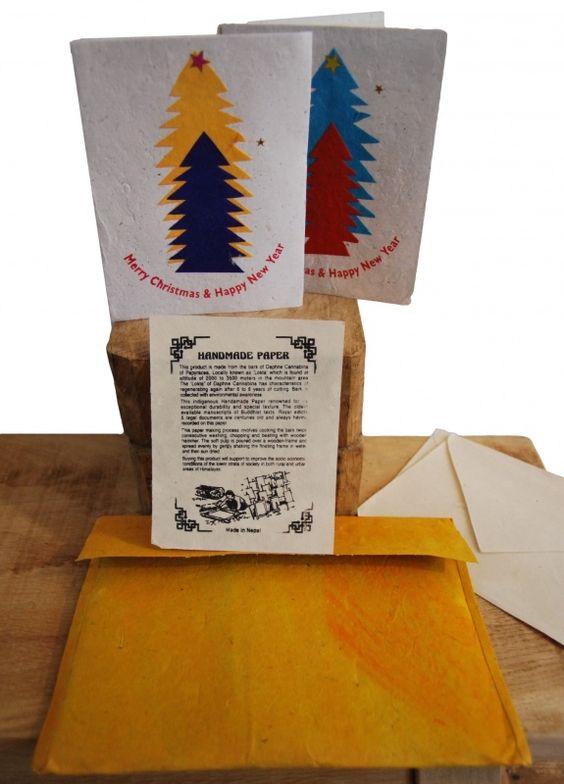 Handgemaakte Kerstkaarten Nepal www.goodroots.nl