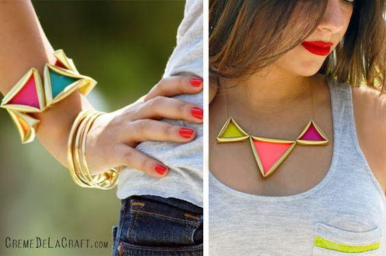 Super fun DIY neon pyramid necklace