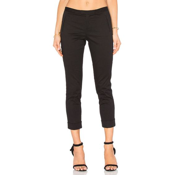ATM Anthony Thomas Melillo Stretch Twill Slim Crop Pant ($305) ❤ liked on Polyvore featuring pants, capris, cropped trousers, slim fit pants, slim cropped pants, crop pants and stretch twill pants