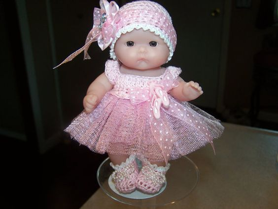 """5"""" Berenguer Doll - 5"""" Itty Bitty Doll - 5"""" Lots to Love doll - 5"""" Ooak doll - 5"""" Cupcake Doll - Crocheted Outfit for 5"""" Berenguer Dolls"""
