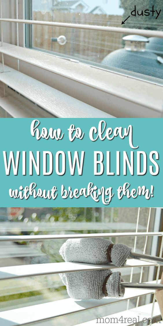 Cleaning dusty window blinds can be a daunting task, but it doesn't have to be. Gone are the days of taking your blinds down to clean them...you just need a couple of items you already have in your kitchen to clean your window blinds without breaking them! This method works great for cleaning wood blinds too!