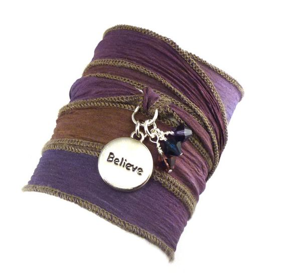 Hand Dyed Silk Wrap Bracelet with Believe by charmeddesign1012, $34.00