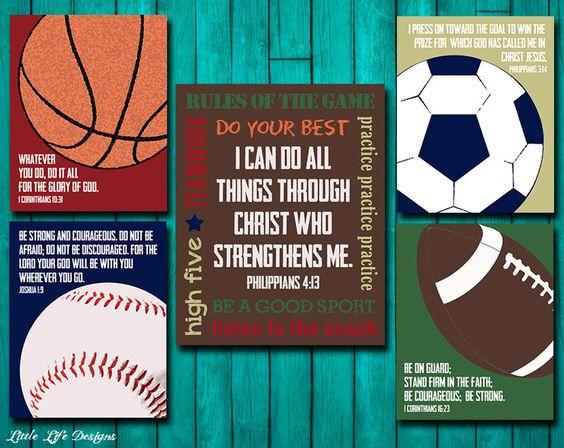 Sports Decor. Sports Nursery. Boy Room Decor. Football, Baseball, Basketball, Soccer. Christian Wall Art. I can do all things through Christ by LittleLifeDesigns on Etsy