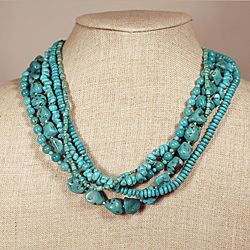 @Overstock - This stunning necklace from Peyote Bird Designs features five graduated strands of turquoise, each  a different shape, accented with sterling silver cone end caps with a stamped heart detail.http://www.overstock.com/Worldstock-Fair-Trade/Peyote-Bird-Designs-Sterling-Silver-Multi-strand-Turquoise-Necklace-USA/6495589/product.html?CID=214117 $371.99