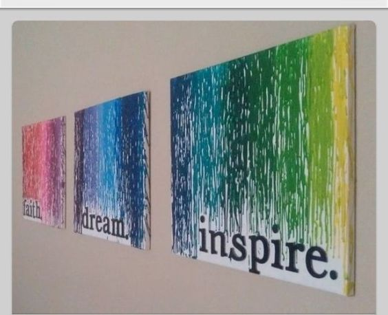 Crayon art. This is SUPER cool! I like how they put meaningful word on the bottom