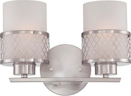 View the Nuvo Lighting 60/4682 Fusion Two Light Bathroom Fixture with Frosted Glass, in Brushed Nickel Finish at LightingDirect.com. - pool bath