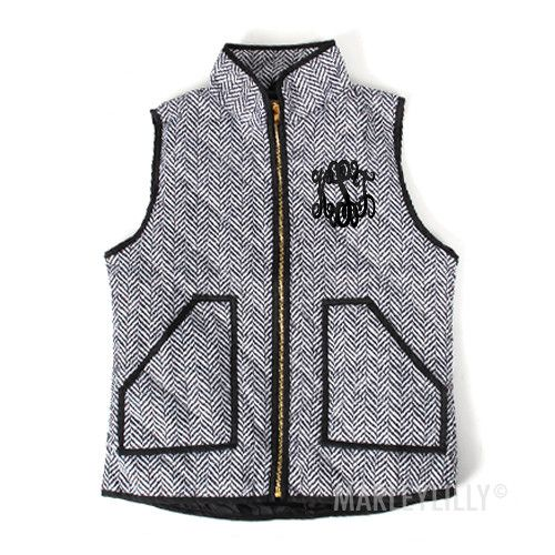 Monogrammed Lightweight Printed Herringbone Vest   Marleylilly