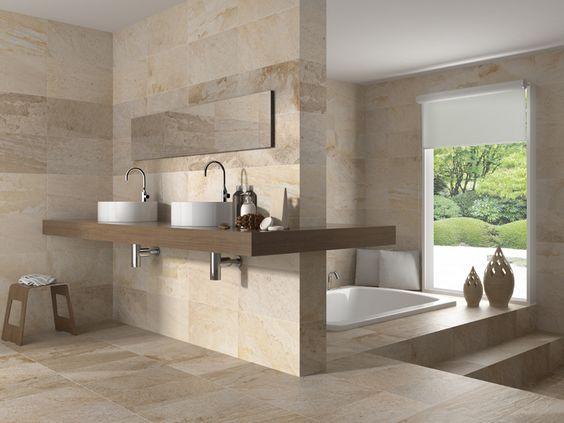 formatos 27x50 Cuarcita estancias: Baños La piedra en el baño siempre estará de…