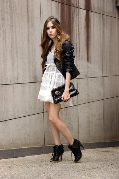 Black Leather Jacket Ellus Jackets, White Espao 1098 Dresses ...