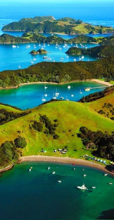 I'd like to jump into these azure waters in the Urupukapuka Island in the Bay of Islands of New Zealand. The waters around the island are clear and diving is particularly good on the east coast where there is plentiful reef life.