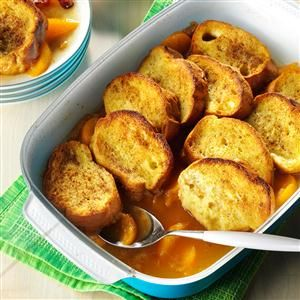 Peach French Toast Recipe -Let the aroma of baked peaches, brown sugar and cinnamon wake up your clan when you prepare this homespun dish from Geraldine Case of Anderson, Indiana. Drizzle the golden syrup that bakes at the bottom of this casserole over the tender slices of French toast.