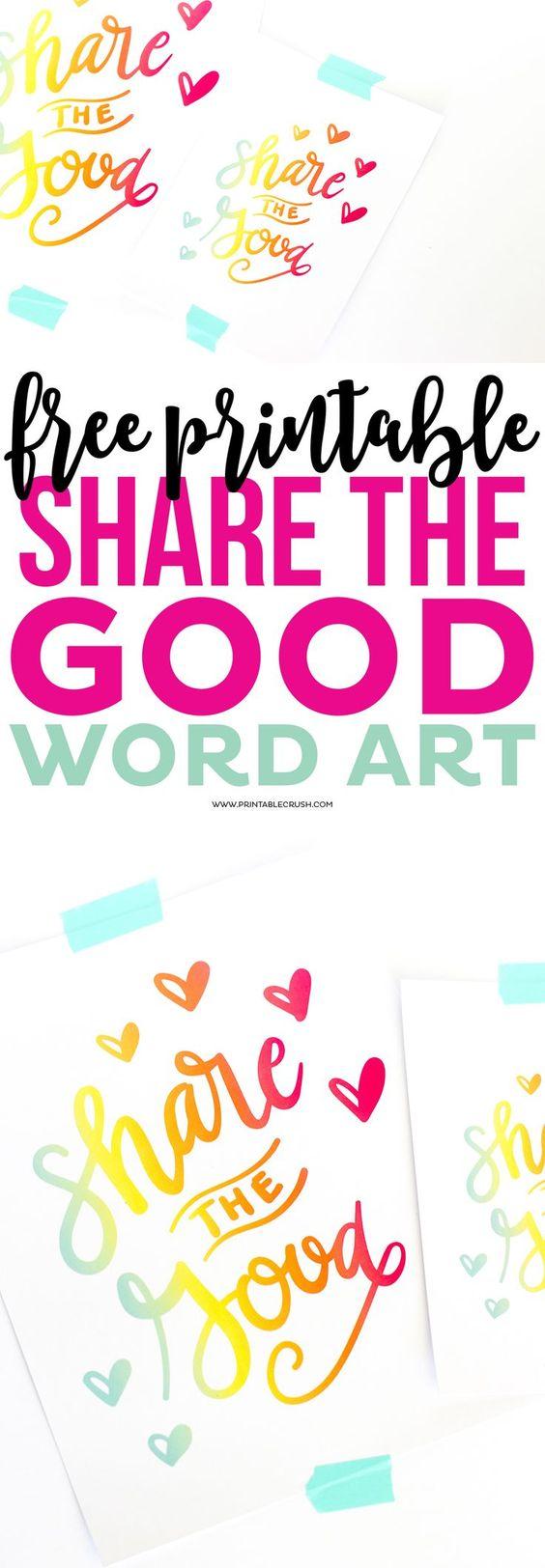 Share the Good Printable Word Art
