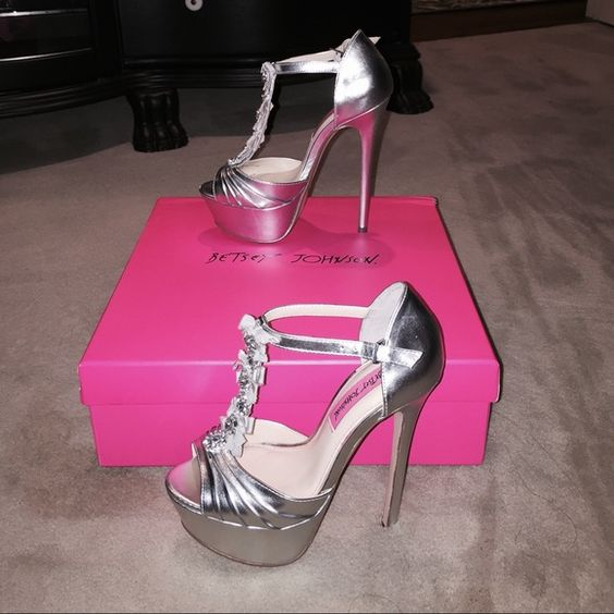 Sold!!!Betsey Johnson Silver Platform heels Brand new with box from non smoke house Betsey Johnson Shoes Heels