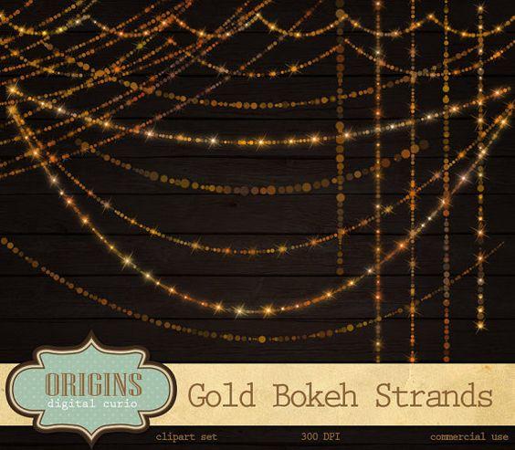 String Lights Bokeh : Gold Bokeh Sparkling String Lights Digital by OriginsDigitalCurio Clip Art Pinterest Bokeh ...