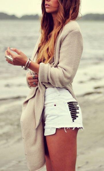 : Studded Shorts, White Shorts, Studded White, Summer Outfit, Dream Closet, Studded Pocket, Spring Summer, White Studded