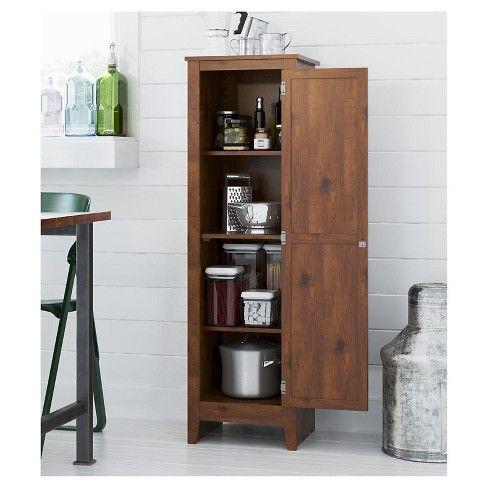 Hagar Single Door Storage Pantry Cabinet Pine Room Joy