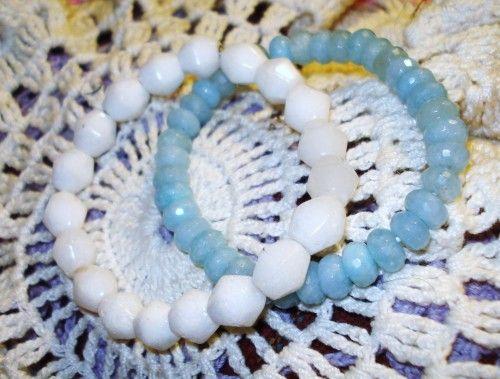 2 rare bangle bracelets, genuie aquamarine and antique milk glass,1 SZ