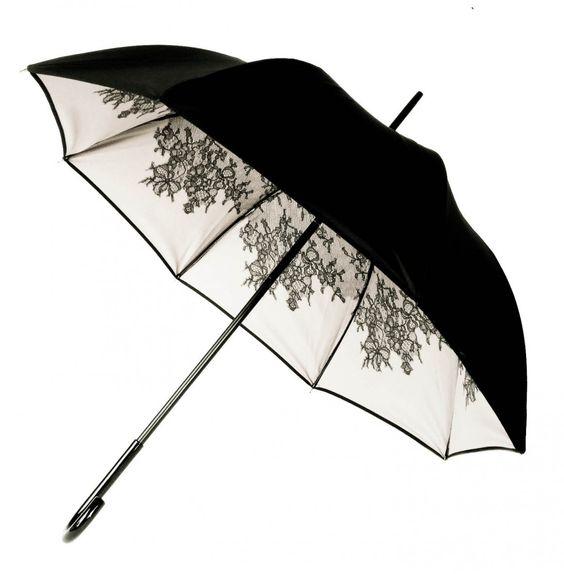 parapluie_chantal_thomass_noir doublé blanc imprimé dentelle noire 118 euros