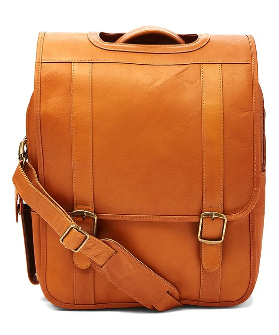 Another great find on #zulily! Tan Double Buckle Convertible Leather Backpack by Le Donne #zulilyfinds