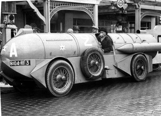 René Stapp with his 1932 land speed record car at Daytona Beach, Florida.