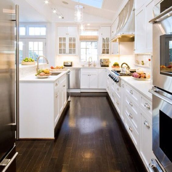 Dark Wood Floors With White Cabinets