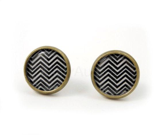 Black White Chevron Earrings - Black and White Earring Studs - Stripes - Zig Zag - Geometric Jewelry - Angular - Free Shipping. $14.00, via Etsy.