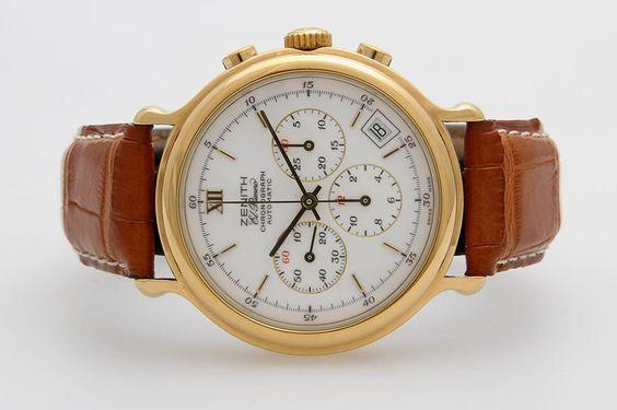 """ZENITH Herrenuhr """"El Primero Chronograph"""". Goldplattiert. D: ca. 37mm (ohne Krone). Automatic-Werk u — Uhren"""