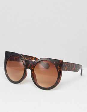 Missguided - Lunettes de soleil rondes effet yeux de chat à imprimé léopard