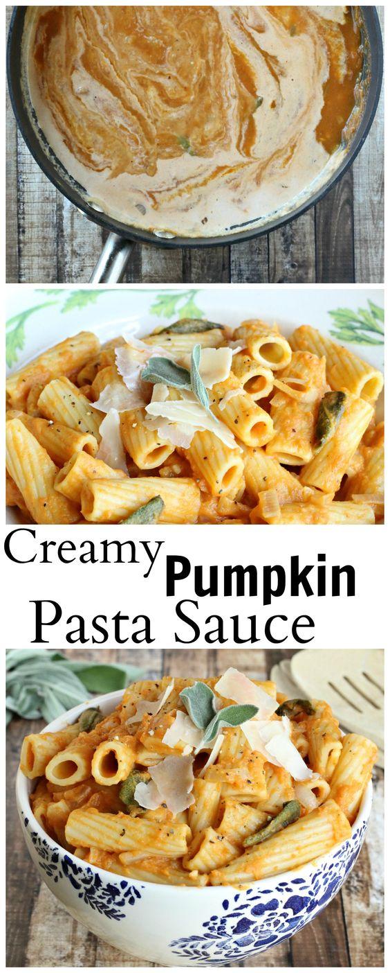 An easy pumpkin pasta sauce made with pumpkin puree, shallots, and sage.