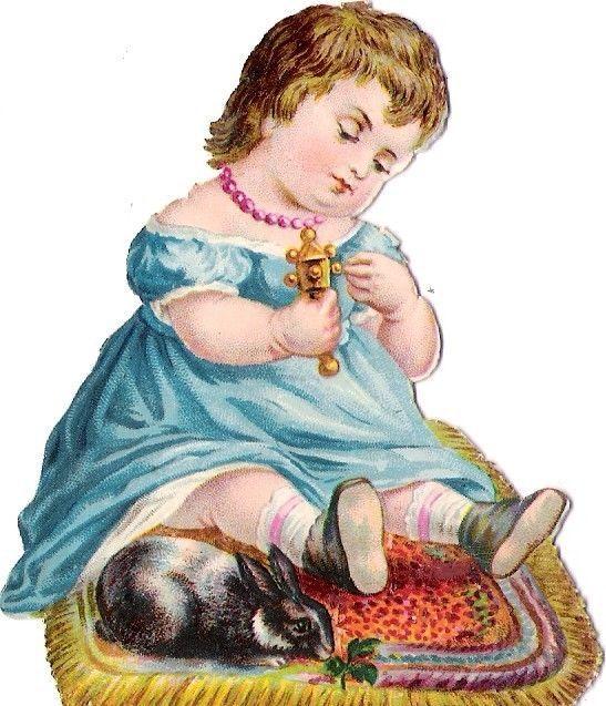 Oblaten Glanzbild scrap diecut chromo Kind child baby girl Hase rabbit lapin:
