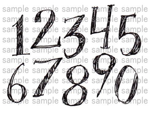 手描き数字01 数字デザイン フォント ハンドレタリングフォント