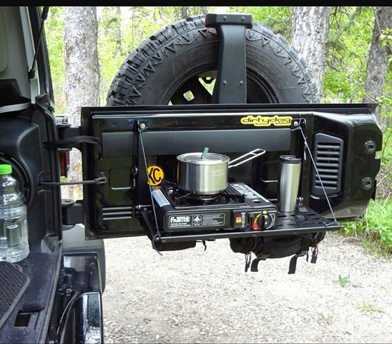 NICE SET UP ON THE BACK OF A JEEP!