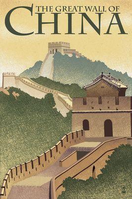 Great Wall of China - Lithograph Style - Lantern Press Poster
