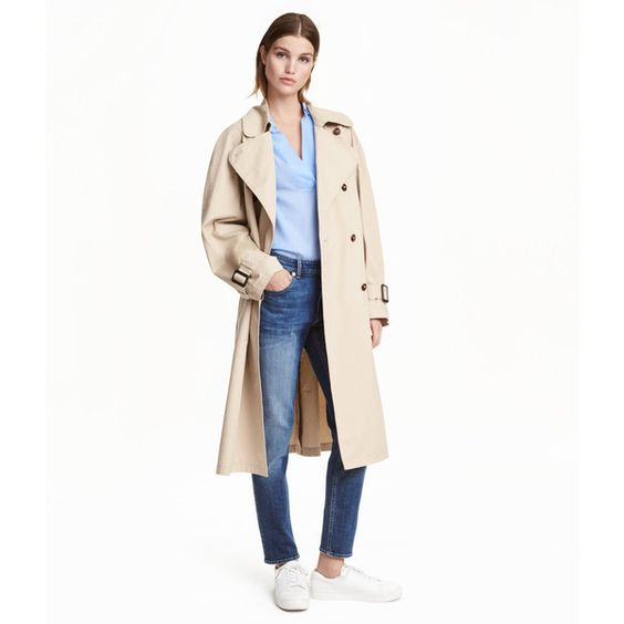 Cotton Trenchcoat $69.99 ($70) found on Polyvore featuring women's fashion, outerwear, coats, long white coat, long trench coat, cotton long coat, white coat and white trench coat: