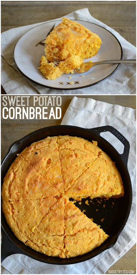 Mashed sweet potato, fragrant spices, and rich sour cream make this Sweet Potato Cornbread to die for. Serve with butter or a drizzle of honey. @budgetbytes