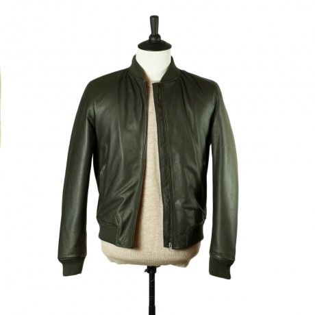 Valstar Bottle green pebblegrain leather bomber jacket | Jackets