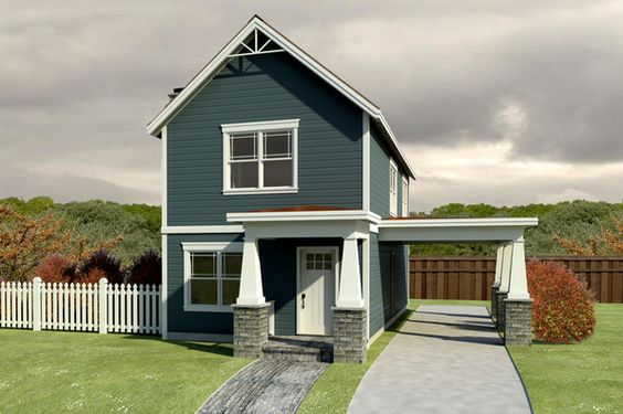 narrow craftsman house plan with carport home exteriors