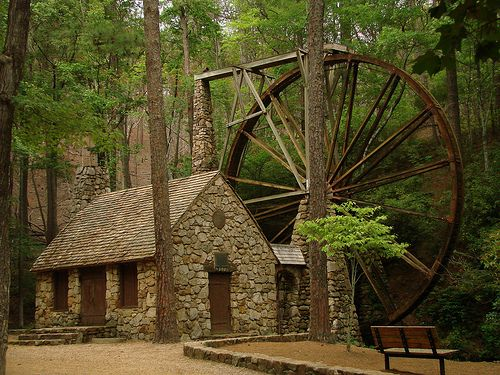 Marble Water Wheels : Love this stone cottage water wheel cottages