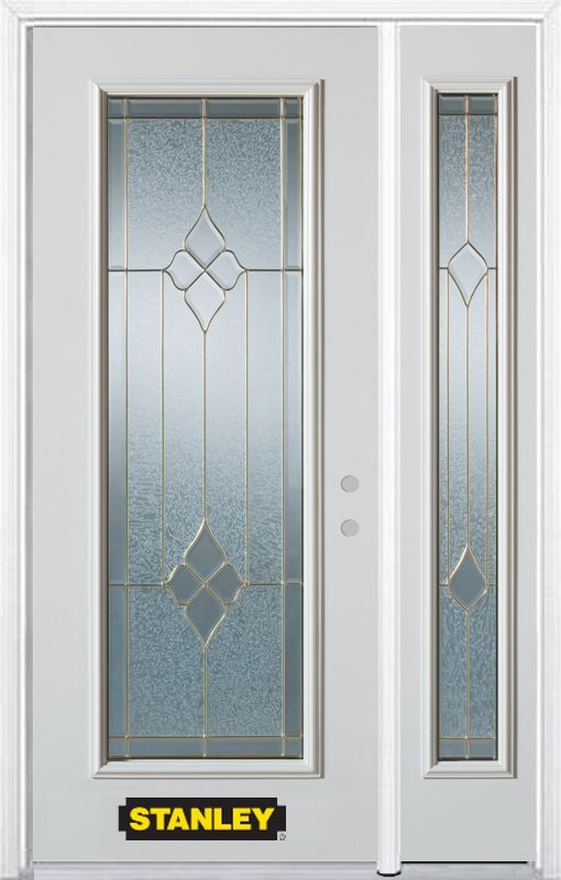 50 25 Inch X 82 375 Inch Beatrice Brass Full Lite Prefinished White Left Hand Inswing Steel Prehung Front Door With Sidelite And Brickmould Doors Beveled Glass Entry Doors