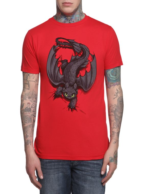 "Red slim-fit T-shirt from How to Train Your Dragon with Toothless ""Night Fury X-ing"" design by Rachel Sharp."