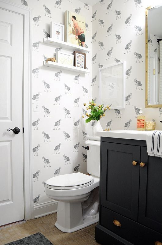 Ostrich Bathroom Sources And Cost Go Haus Go 1000 Small Bathroom Wallpaper Black Bathroom Bathroom Design With Wallpaper
